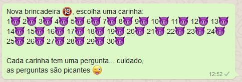 10 brincadeiras picantes - emojis